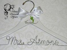 TinkerBell Themed Wedding Hanger, Disney Fairy Wedding, Personalized Bridal Hanger, Fairy dust, Bridal Shower Gift, Wedding Dress Hanger, by WhiteDiamondAffairs on Etsy
