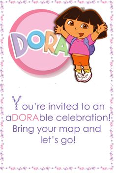 Planning Dora Birthday Party. Dora always sets out on her adventures with a map at hand so I thought it would be cool to make an invite that required my creativity to kick in  #party #birthday #decoration #cakes #favors #themedbirthday #games #printable #quotes #invitation #sayings #birthdaypartyideas #bpartyideas #dora