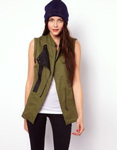 Buy Vero Moda Sleeveless Military Jacket at ASOS. With free delivery and return options (Ts&Cs apply), online shopping has never been so easy. Get the latest trends with ASOS now. Khaki Jacket, Casual Outfits, Fashion Outfits, Military Jacket, Military Style, Military Fashion, Dress Codes, Color Combinations, My Style
