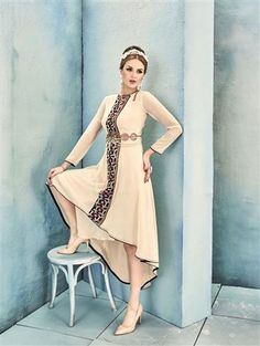 68c0eaaa47c Shop Latest Ivory and Multicolor Designer Stitched Kurti at Discounted  Price