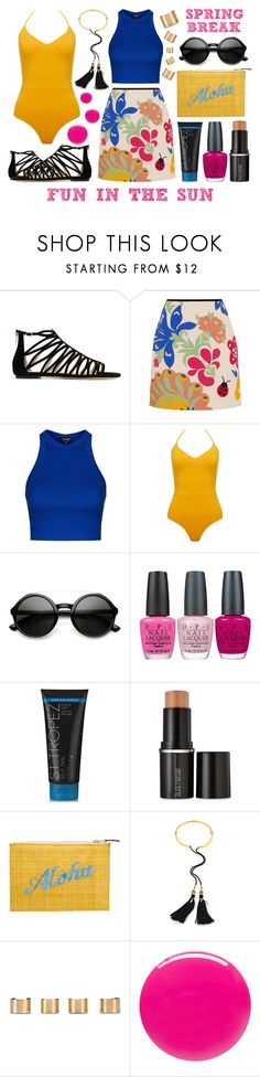 """Spring Break Style - Fun In The Sun"" by latoyacl ❤ liked on Polyvore featuring Jimmy Choo, Victoria, Victoria Beckham, Topshop, Bower, OPI, Laura Mercier, Kayu, Lizzie Fortunato, Maison Margiela and Eve Snow"