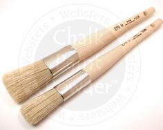 "Chalk-Pro Easy Paint Round-Medium: Long handled paint brush with tapered China bristles. Perfect for paint application.  8 1/2"" natural wood handle  2"" China bristles; 1"" across. $7.50"