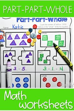 Part part whole math center for kindergarten! Students will count objects and add them together. Great addition activity for your whole classroom. Free Math Worksheets, Kindergarten Math Worksheets, Kindergarten Activities, Maths, Math Stations, Math Centers, Part Part Whole, Teacher Lesson Plans, Teacher Tips
