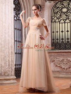 Champagne Wedding Dress With Appliques Square Brush Train Short Sleeves  Item Code: HNPD036FOS     gmmg