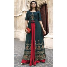 TV Actress Prachi Desai Prussian Blue Color Jacquard Silk Ready Made Kurtis - 59408802 #readymadekurtis #Tunic #tops #kurtis #designerkurti #fashiontops #kurtisonline #shopping #indiankurtis #womenkurtis #heenastyle
