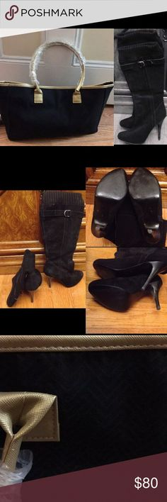 Boots & Tote Bag Guess black high heeled boots. Worn out once but a little too high for me. Size 6.5M. Black & gold colored tote bag from Yankee Candle. New never used. Guess Shoes Heeled Boots
