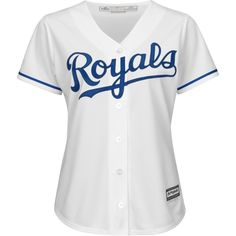 Majestic Women's Kansas City Royals Cool Base Jersey ($70) ❤ liked on Polyvore featuring activewear, activewear tops, shirts, tops, white, jersey shirts, holiday shirts, jersey knit shirts, white shirt and majestic shirts