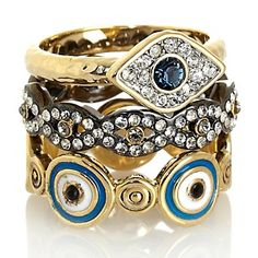 "Real Collectibles by Adrienne® ""Jeweled Evil Eye Stackable Trio"" Set of Three Stack R at HSN.com."