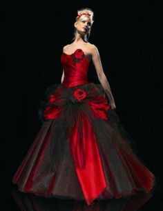 Red And Black Ball Gown Gothic Wedding Dress With Handmade Flowers Plus Size Wedding Bridal Gowns Floor Length Vestidos De Novia Pretty Dresses Tea Length Wedding Dresses From Alinabridal, $142.4| Dhgate.Com