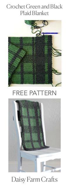 FREE PATTERN - Crochet Green and Black Plaid Blanket - Daisy Farm Crafts