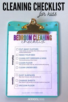 Bedroom Cleaning Checklist for Kids - The Incremental Mama - Cleaning Hacks Daily Cleaning Checklist, Chore Checklist, Clean Bedroom, Bedroom Cleaning, Kids Bedroom, Diy Cleaning Products, Cleaning Hacks, Pick Up Trash, Charts For Kids