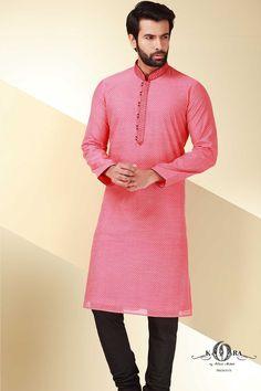 Red Cotton Grandiose Kurta-KR398 Indian Men Fashion, Muslim Fashion, Mens Fashion, Style Fashion, Indian Groom Dress, Mens Kurta Designs, Wedding Men, Wedding Dress, Groom Outfit