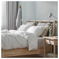 IKEA BJÖRKSNÄS bed frame Made of solid wood, which is a hardwearing and warm natural material. Ikea Design, Ikea France, Cama Ikea, Ikea Family, Bed Slats, Bed Base, World Of Interiors, Adjustable Beds, King Beds