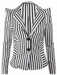 New Ladies Pointed Shoulder Fitted Blazer Womens Monochrome Stripe Print Long Sleeve Jacket Size 10 Purple Hanger, http://www.amazon.co.uk/dp/B0089M0GQ4/ref=cm_sw_r_pi_dp_9dqVqb0HS4BP6