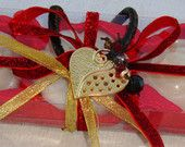 #SOLD# Red Handmade Gift Set for Women: Three white Colour small Scented Luxury Soaps - special scent of perfumed milk, with a lovely Gold & Black Handmade Heart Jewelry Necklace in the packaging.  A Unique gift for Valentine Day, a very elegant, stylish gift for any occasion: Mothers Day, Anniversary, Feast, Birthday, Party.....