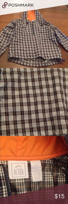 Plaid pulllover small Plaid and pretty vintage vine feel ! Pull over 1/4 zip and front pocket zip perfect for travel folds up easily new!! Sz small Blue white and orange plaid Jackets & Coats
