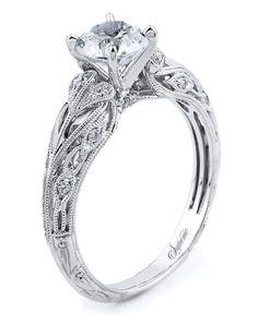 18k white gold engagement ring with filigree, milgrain detail   http://trib.al/Ut8DbVI