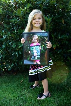 Wish i would have done this for Hailey. Guess i  will have to do it for olivia. First day of school picture holding last year's photo