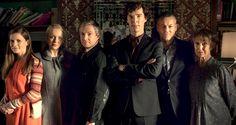 Cast of SHERLOCK (from left) - Louise Brealy (Molly), Amanda Abbington (Mary Watson), Martin Freeman (John Watson), Benedict Cumberbatch (Sherlock Holmes), Rupert Graves (Lestrade) & Una Stubbs (Mrs. Hudson).