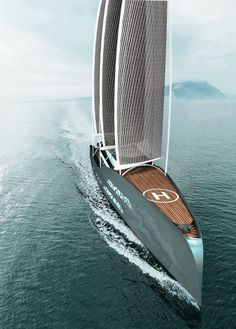 Boat Discover Crystal Glacies - a Sail-Assisted Yacht by Matej Pinkos Crystal Glacies is an sailing yacht with A-Frame rig and solar sails by Matej Pinkos. Yacht Design, Boat Design, Design Suites, Design Hotel, Luxury Sailing Yachts, Big Yachts, Bateau Yacht, Yatch Boat, Cool Boats