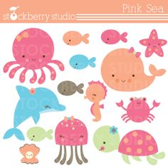 Pink Sea Clipart baby shower