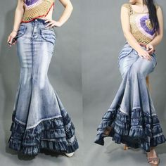 Cheap fishtail skirt, Buy Quality denim skirt women directly from China denim skirt Suppliers: New Fashion Vintage Washed Denim Skirts Women Casual High Waist Fishtail Skirt Maxi Long Ruffled Cowboy Blue Jeans Skirts Long Skirt Fashion, Denim Fashion, Fashion Women, Dress Fashion, Fashion Brands, Denim And Lace, Long Maxi Skirts, Casual Skirts, Denim Skirts