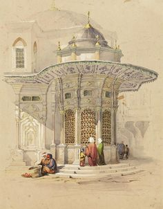 Alif Art Amadeo Preziosi Fountain at Sultanahmet x cm. Mixed media on paper Signed Dina Topbas Sakir Collection Egyptian Movies, Egyptian Art, Plans Architecture, Islamic Architecture, Roman Drawings, Middle Eastern Art, Islamic Paintings, Old Egypt, Turkish Art