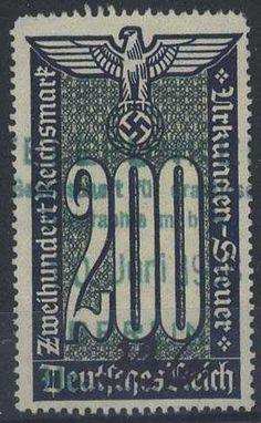 Description German documentary tax stamp 1936 Erler 11 steps watermark (ascending L to R facing) 200 RM value.