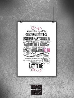 The Beatles Let it Be   Lyrics Typography Quote