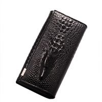 High Quanlity Cow Leather Women Organizer Wallet  Genuine Leather Crocodile Clutch Card and  Money Wallet