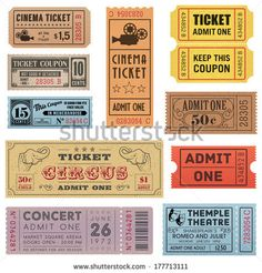 A collection of eleven vector grunted Tickets, Vector file is organized with layers, with every ticket divided into 3 layers, separating Bac...