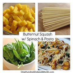 Butternut Squash with Spinach and Pasta