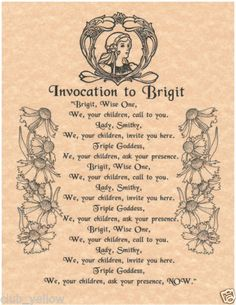 Invocation to Brigit Book of Shadows Page BOS Pages Wicca Witchcraft Poster Wicca Witchcraft, Pagan Witch, Magick, Wiccan Books, Witches, Brighid Goddess, Celtic Goddess, Celtic Mythology, Imbolc Ritual