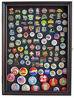 Lapel-Pin-Button-Medal-Jewelry-Display-Case-Shadow-Box-with-Glass-Door-Cherry-Finish-PC01-CH-0