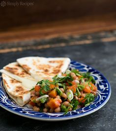 Black Eyed Pea Salsa with Cheese Quesadillas ~ Black-eyed Pea Salsa with green chiles, onions, red bell pepper, served with jack cheese quesadillas ~ SimplyRecipes.com