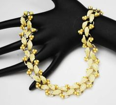 Vintage Yellow floral  link necklace  signed Coro  yellow