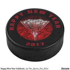 Happy New Year CelebrationHockey Puck