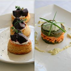 Cupcakes & Couscous : Caramelised Beetroot Tartlets with Salmon Trout & Lentil Stacks Beetroot, Couscous, Trout, Salmon Burgers, Lentils, Caramel, Cupcakes, Foods, Ethnic Recipes