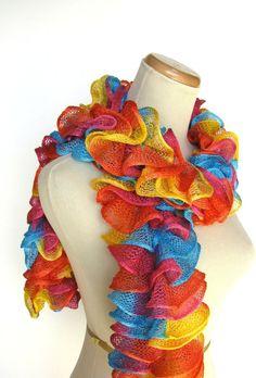 Circus Rainbow Hand Knit Ruffled Scarf  Orange by ArlenesBoutique, $33.00