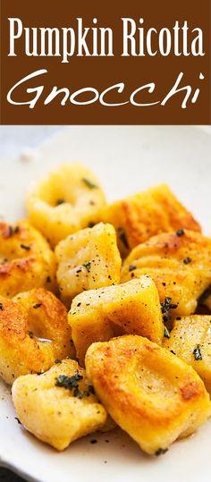 Italian pumpkin gnocchi dumplings! Made with pumpkin or winter squash, ricotta cheese, parmesan and flour.