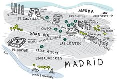 Client: Vanity Fair Description: Ilustración mapa de Madrid para la revista Vanity Fair, Junio de 2011 (Blog Santisallés)