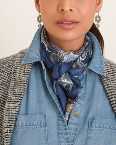 Chico's Women's Geometric Paisley Oversized Square Scarf Ways To Wear A Scarf, How To Wear Scarves, 60 Fashion, Fashion Outfits, Womens Fashion, Fall Outfits, Casual Outfits, Chambray Shirt Outfits, Girly Outfits