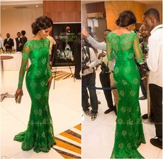 green evening dresses with long sleeves - Google Search