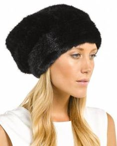 8967afe8808a7 Mya Black Knitted Mink Beanie with Elastic Band Russian Hat