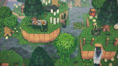 Did some terraforming today! Now I just need the bushes to grow. New favourite part of my overgrown foresty witch island : AnimalCrossingTours island designs ideas Animal Crossing 3ds, Animal Crossing Villagers, Animal Crossing Qr Codes Clothes, Animal Games, My Animal, Blooming Flowers, Ac New Leaf, Motifs Animal, Island Design