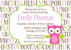 Owl Baby Shower Invitation  Alphabet Baby by PartyDecorations, $10.00