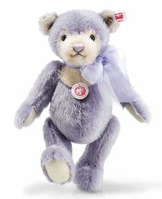 Steiff Laurin Teddy Bear 006487 Ashby Bears proudly presents LAURIN TEDDY BEAR Laurin is our messenger of Spring! She welcomes in Spring dressed in the finest lilac-coloured mohair. And her ears and paws form a fine contrast to her delicate cream-coloured face. The whole picture is beautifully finished by the light and airy, double looped organza ribbon. One can almost smell the lavender! Together with Laurin you are certain to savor the most joyous season of all – Spring!