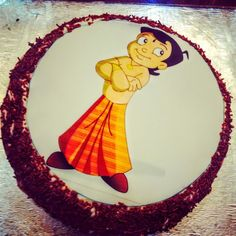 Cartoon Cakes - Chhota Bheem Cake | Red Velvet Cake with Chhota Bheem Printed Picture | All Things Yummy #allthingsyummy #cartoon #cakes #chhotabheem