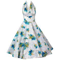 1950's Watercolor Floral-Garden Shelf-Bust Halter Circle-Skirt Dress