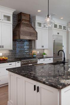 White Cabinets With Black Countertops: 12 Inspiring Designs White Kitchen Cabinets, Kitchen Redo, Kitchen Design, Kitchen Backsplash, Kitchen Ideas, Backsplash Ideas, Cupboards, Dark Granite Kitchen, Kitchen Cabinets Design